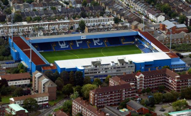 Aerial view of Queens Park Rangers Football Ground at Loftus Road September 2002 .