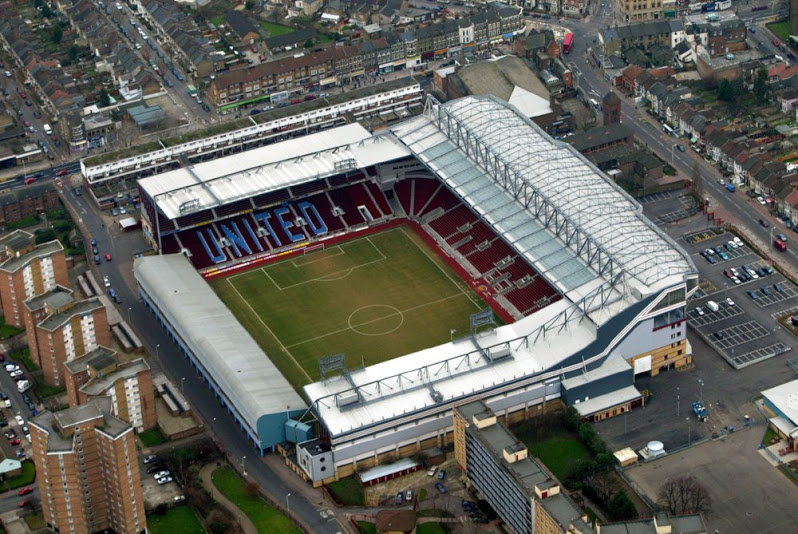 An aerial view of West Ham's Boleyn Ground at Upton Park in east London.